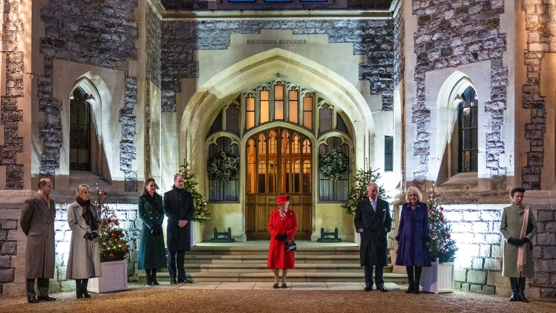 ​The Duke and Duchess of Cambridge joined The Queen, Prince Charles, The Duchess of Cornwall, The Earl and Countess of Wessex, and Princess Anne to welcome essential workers at Windsor Castle on 8 December 2020
