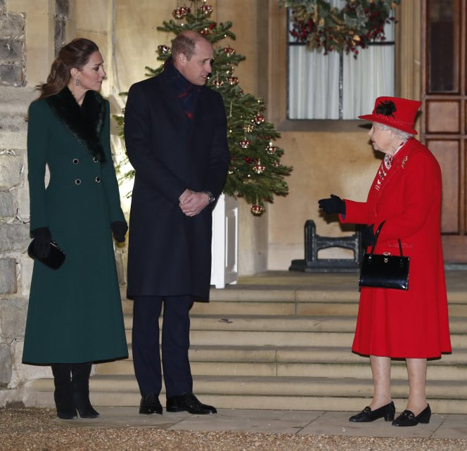 ​The Duke and Duchess of Cambridge greet The Queen at Windsor Castle on 8 December 2020