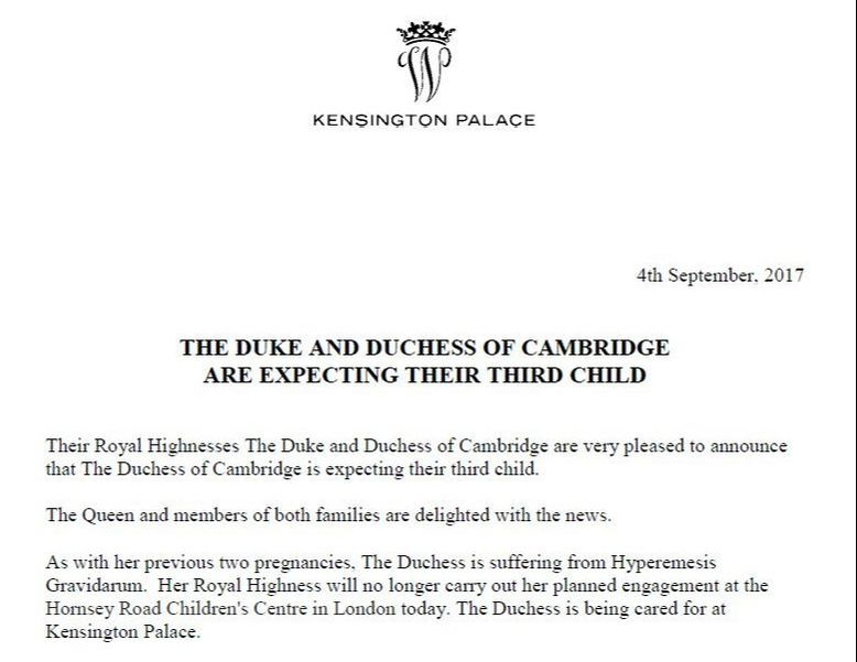 Kensington Palace announces Duchess of Cambridge is pregnant with third child