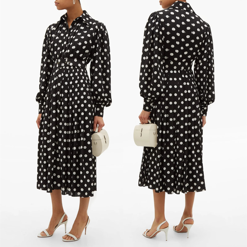 Emilia Wickstead Anatola Black & White Polka-Dot Shirtdress