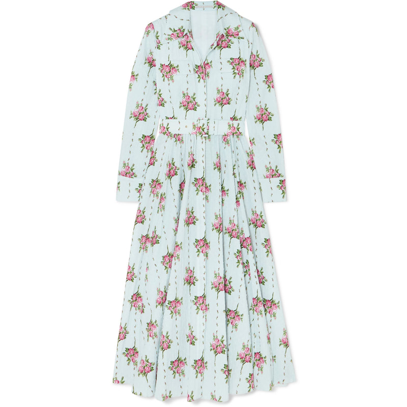 Emilia Wickstead Aurora Rosewood Floral-Print Shirt Dress