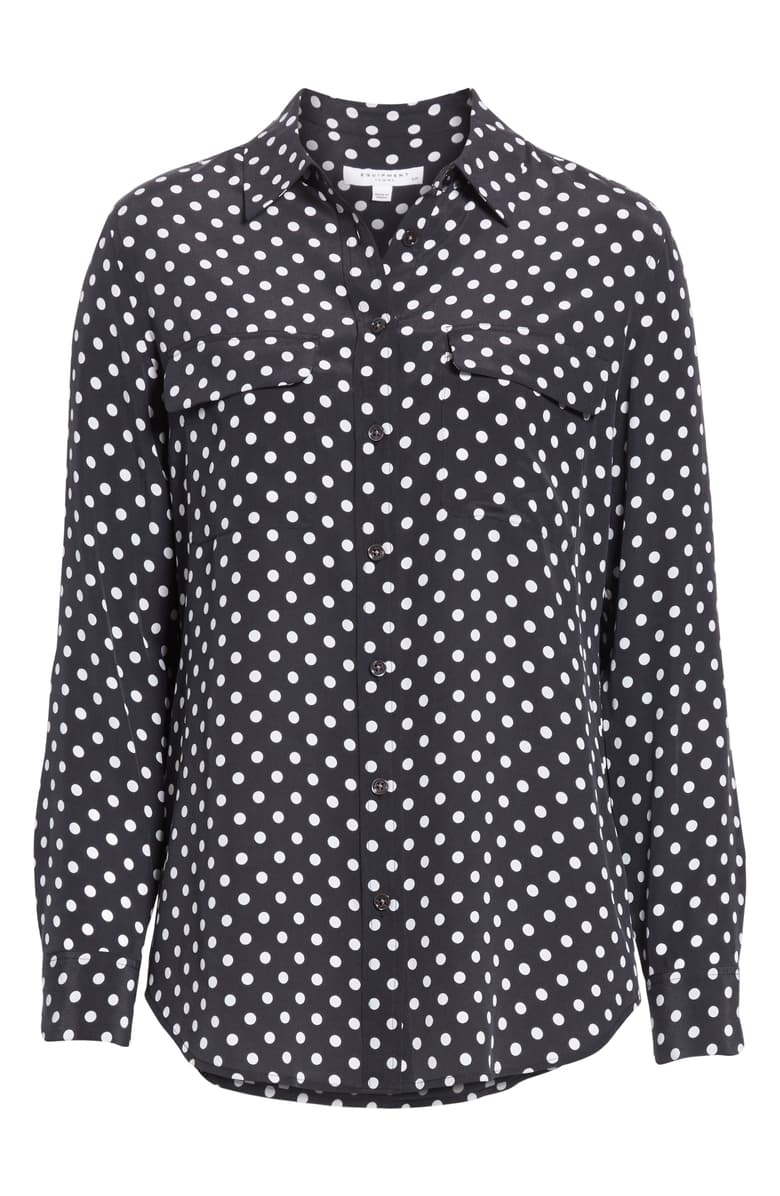 Equipment Slim Signature polka-dot washed-silk shirt