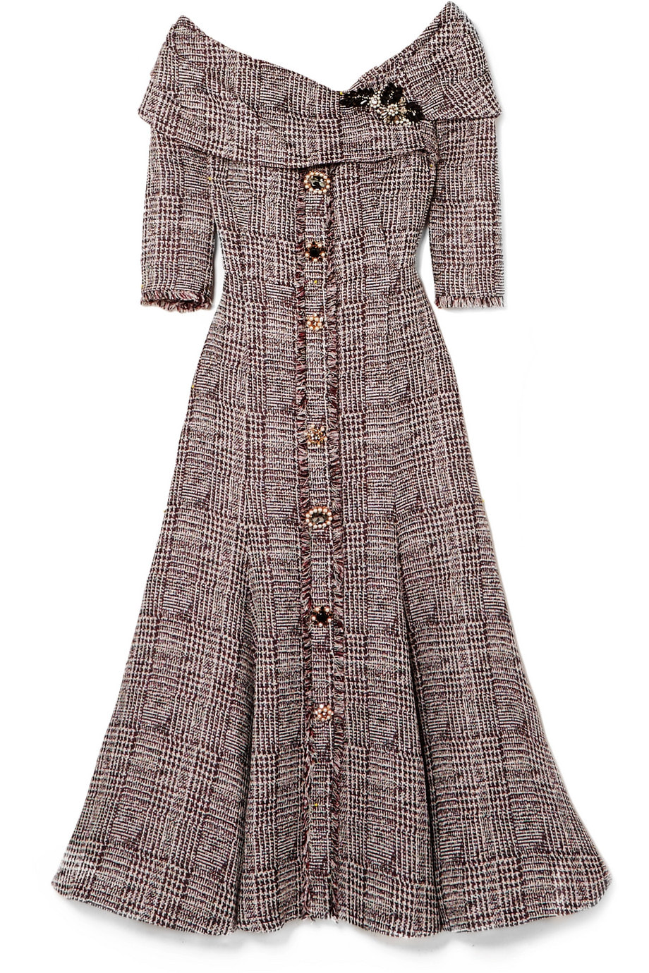 Erdem 'Iman' off-the-shoulder embellished bouclé-tweed midi dress