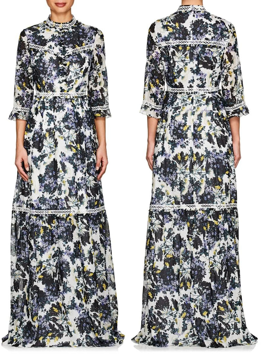 Erdem 'Shebah' White Floral Silk-Cotton Gown