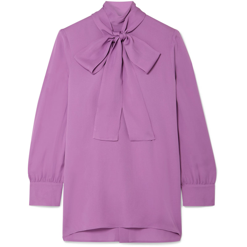 Gucci Purple Pussy Bow Silk Crepe Blouse