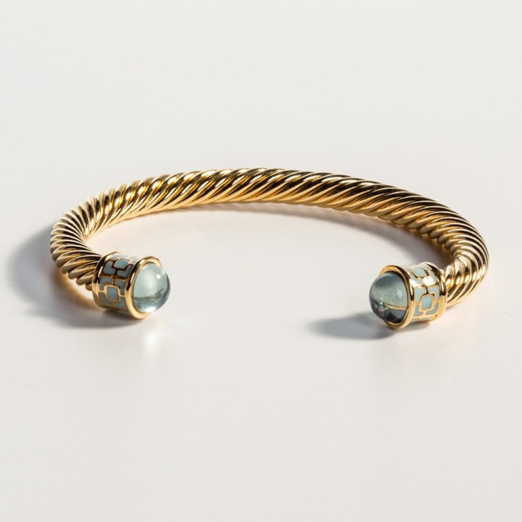 Halcyon Days Maya Torque Aquamarine and Gold Bangle