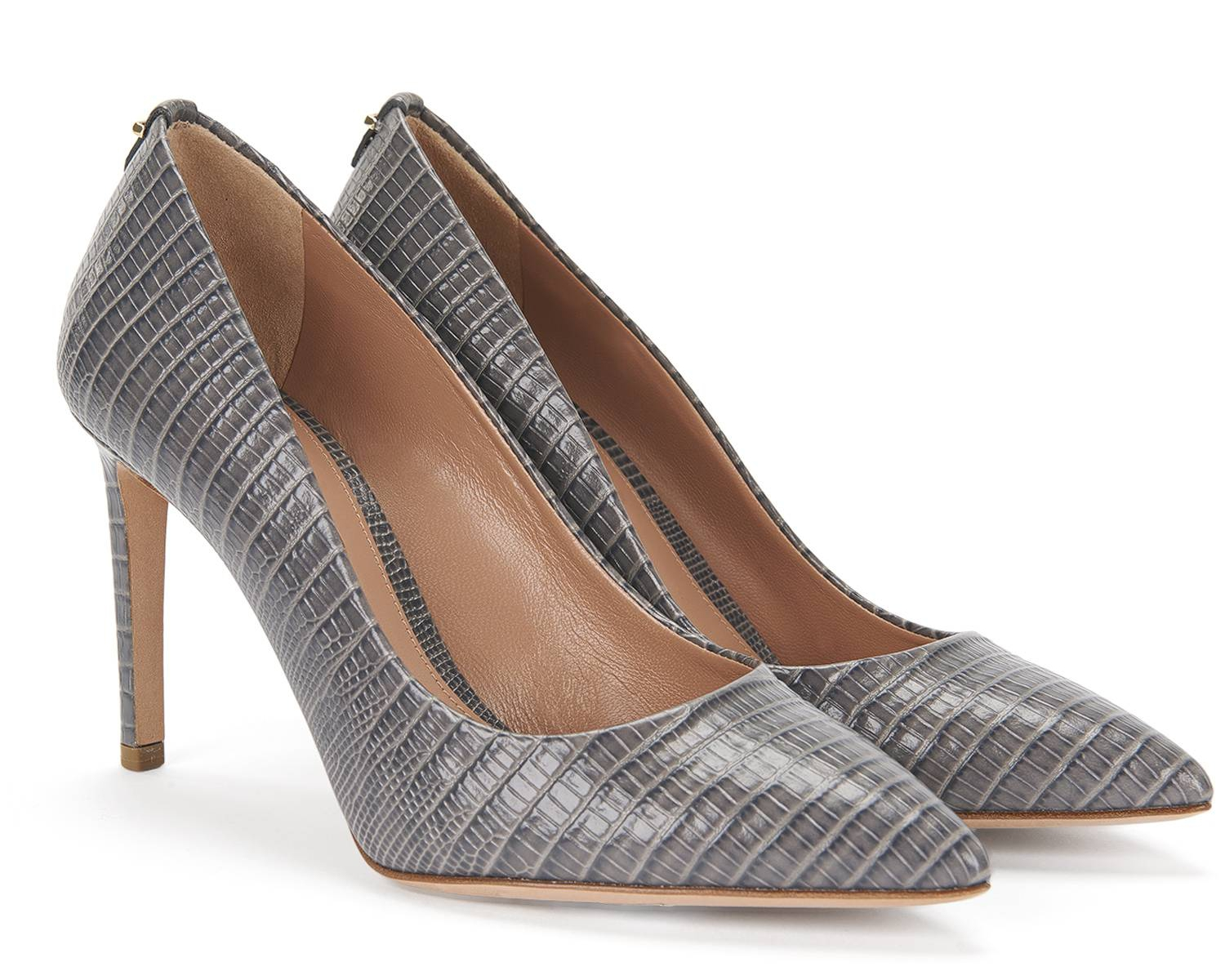 Hugo Boss 'Staple P90-L' embossed leather pumps in Anthracite (grey)
