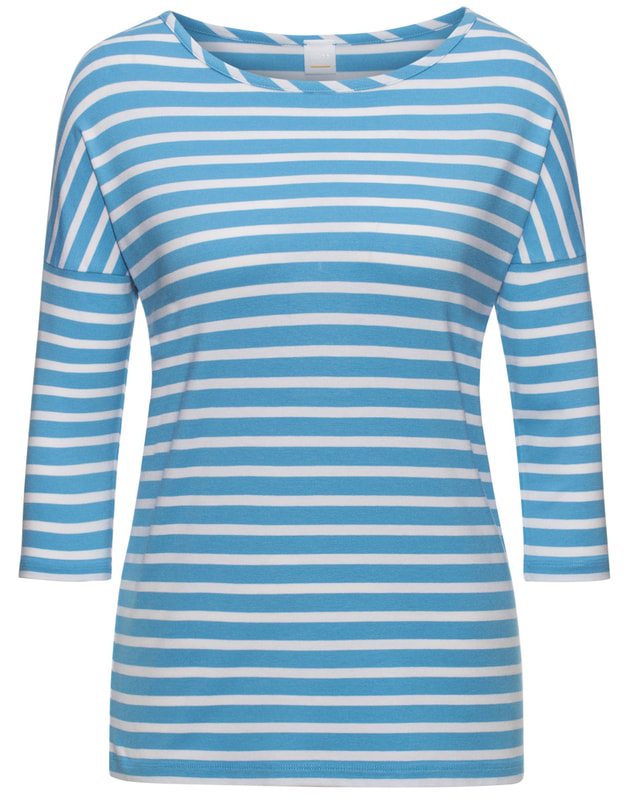 Hugo Boss BOSS ORANGE Tamarini Blue Relaxed-fit striped T-shirt in stretch fabric Style no - 50385475