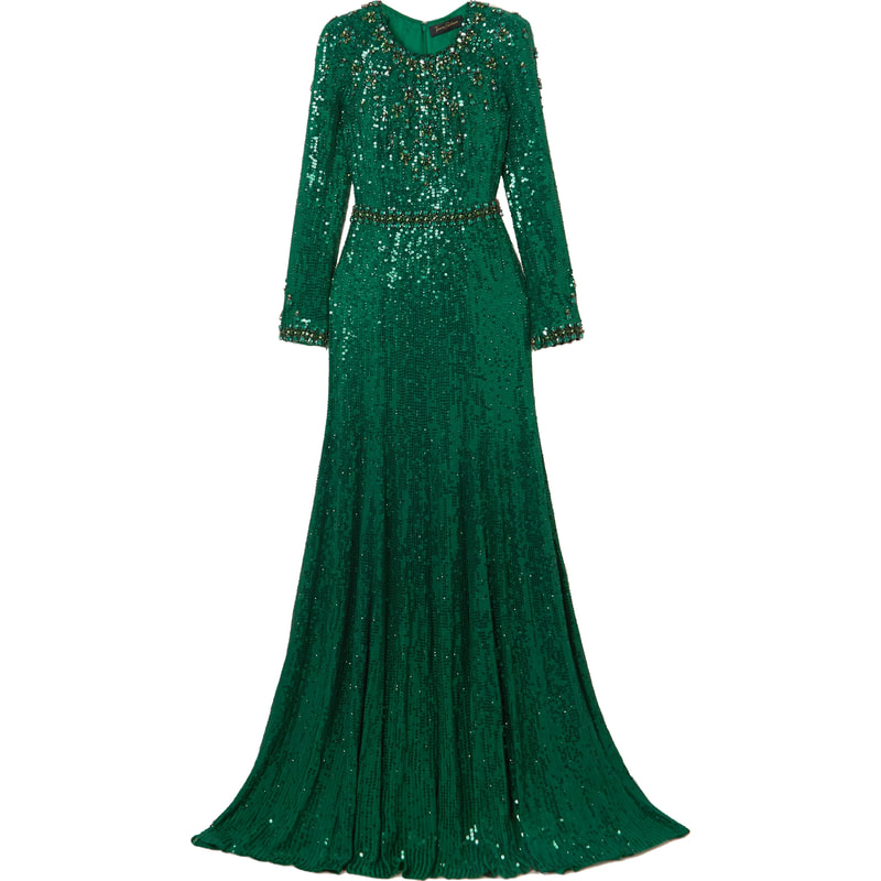 Jenny Packham Tenille Green Sequin Embellished Gown