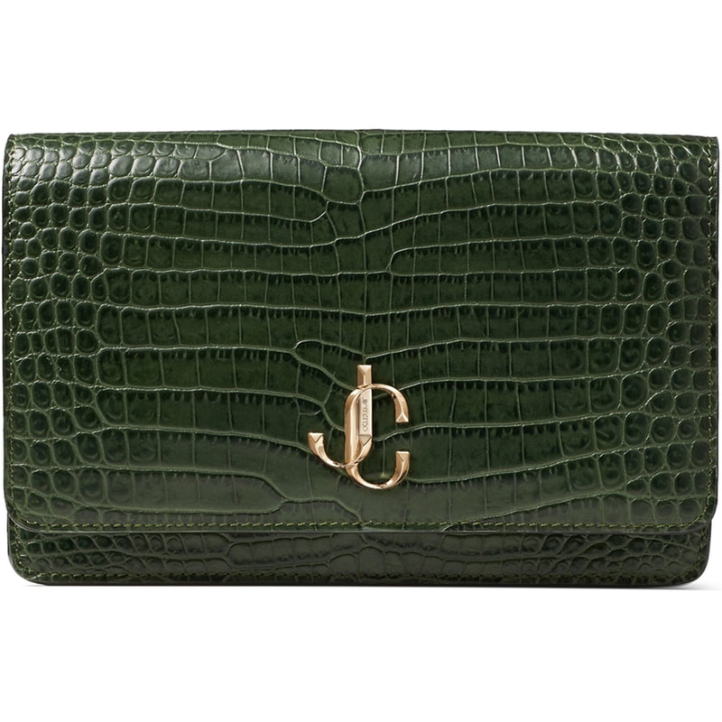 Jimmy Choo 'Palace' Croc Embossed Leather Bag in Dark Clorofilla