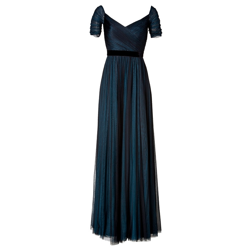 Jenny Packham Ink Blue Silk Tulle Gown