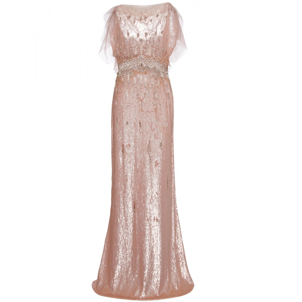 Jenny Packham Pearlescent Pink Sequin Gown
