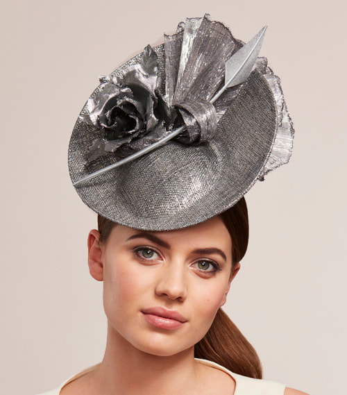 Juliette Botterill Rose & Feather Knot Disc hat