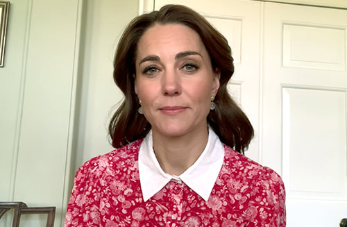 Kate Middleton, the Duchess of Cambridge wears Beulah London Calla Red Rose Shirt Dress for launch of Mental Health Awareness week on 18 May 2020