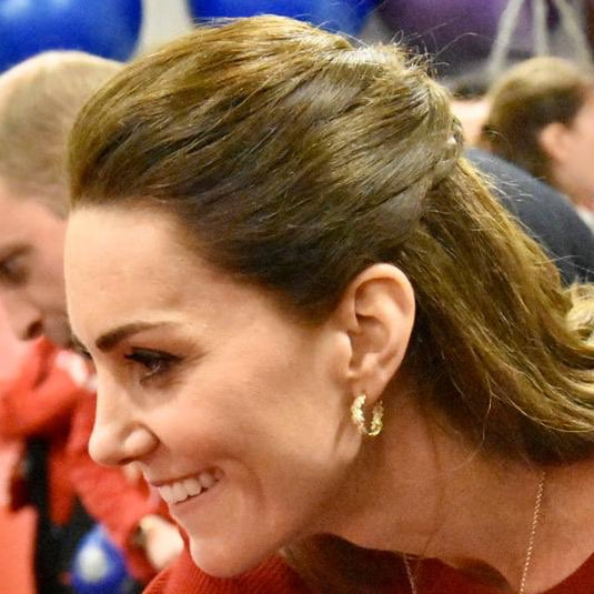 Duchess Kate Middleton wears Asprey London Oak Leaf Small Hoop Earrings