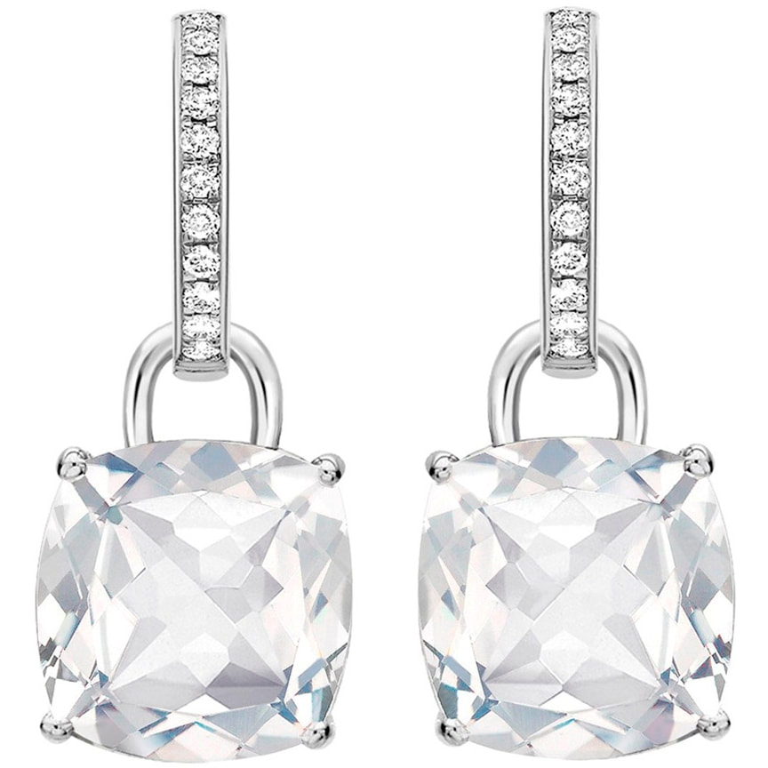 KIKI White Topaz Cushion Drop & Diamond Earrings