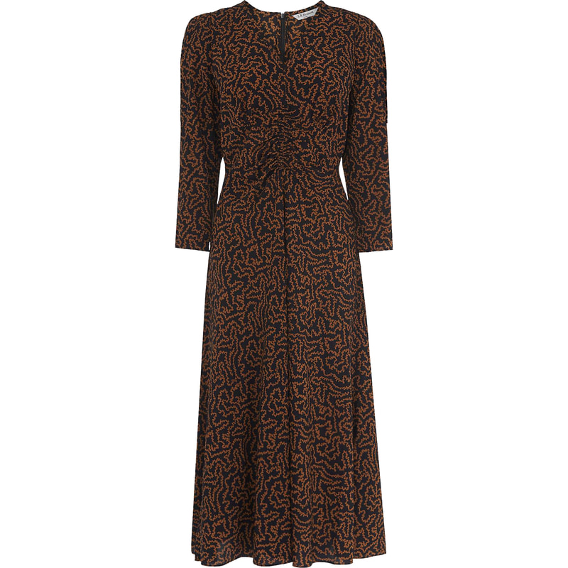 L.K.Bennett 'Gabrielle' Toffee/Black Coral Print Midi Dress
