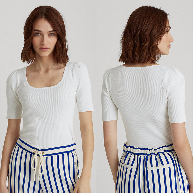 Lauren Ralph Lauren Nadalia White Puff-Sleeve Top