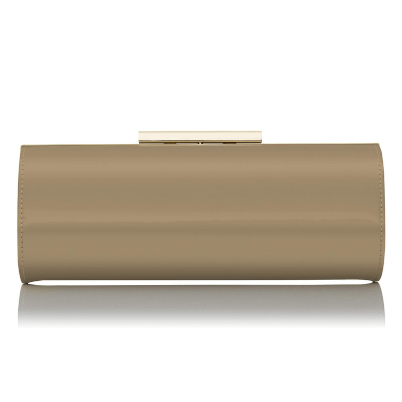 L.K. Bennett Avona Taupe Patent Leather Roll Clutch