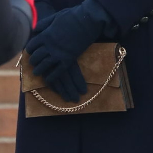 Duchess Kate carries Métier Roma small suede shoulder bag