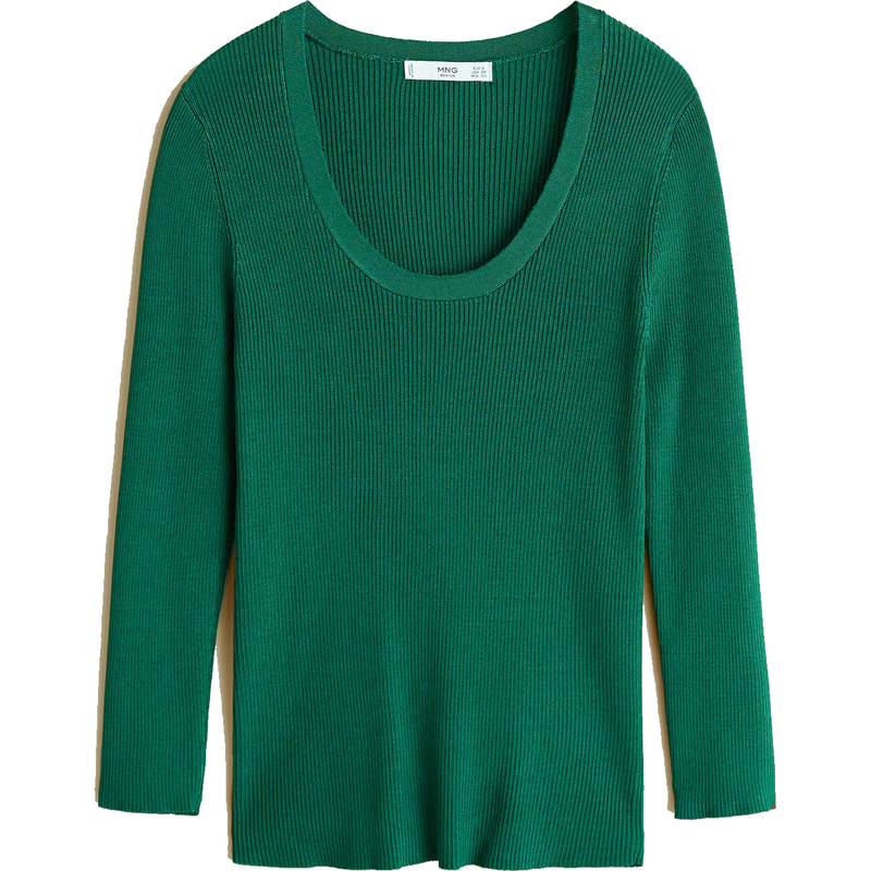 Mango Elliot Green Ribbed Knit Sweater
