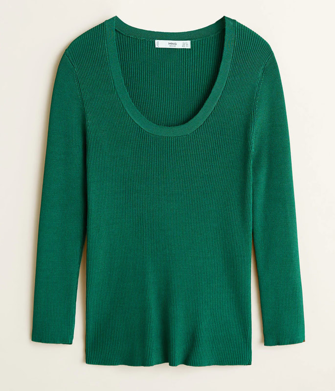 Mango 'Elliot' Green Ribbed Knit Sweater