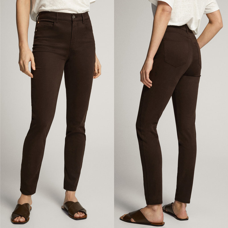 Massimo Dutti Chocolate Skinny Fit High-Rise Satin Trousers