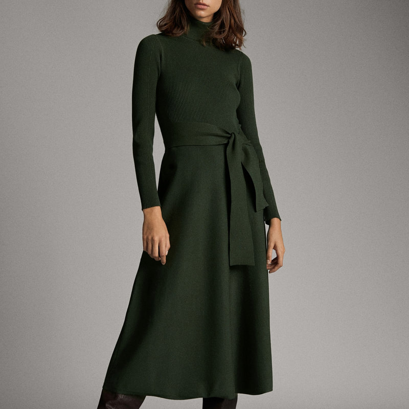 Massimo Dutti Bottle Green High Neck Dress with Belt