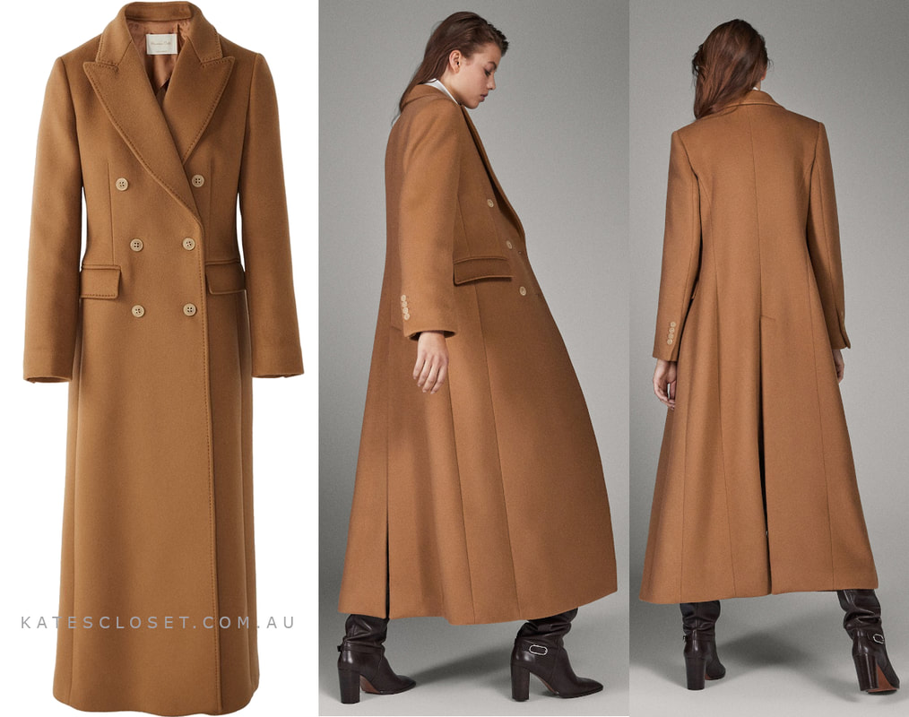 Massimo Dutti Limited Edition Button Cashmere Wool Camel Coat