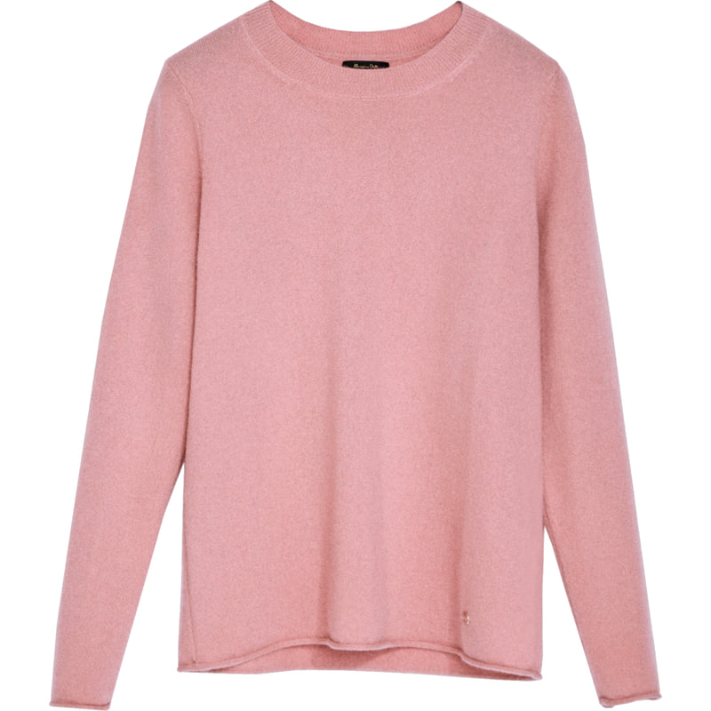 Massimo Dutti Rose Pink 100% Cashmere Crew Neck Sweater