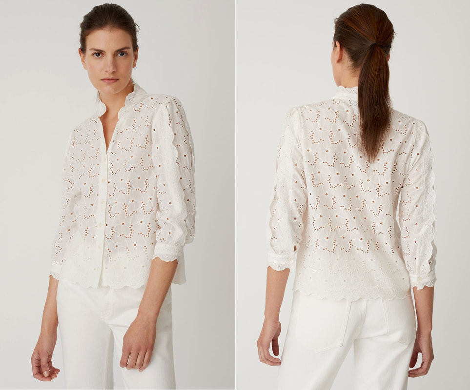 M.i.h Jeans 'Mabel' white broderie-anglaise cotton shirt