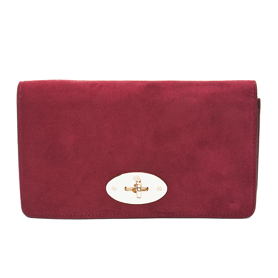 Mulberry Bayswater Cranberry Suede Clutch