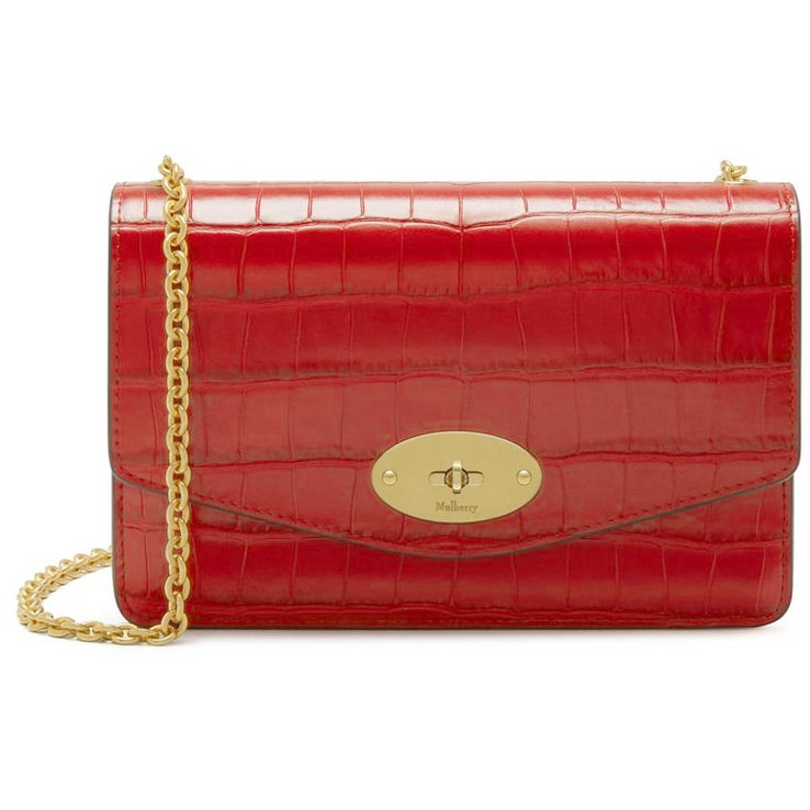 Mulberry Small Darley Bag in Hibiscus Red Croc