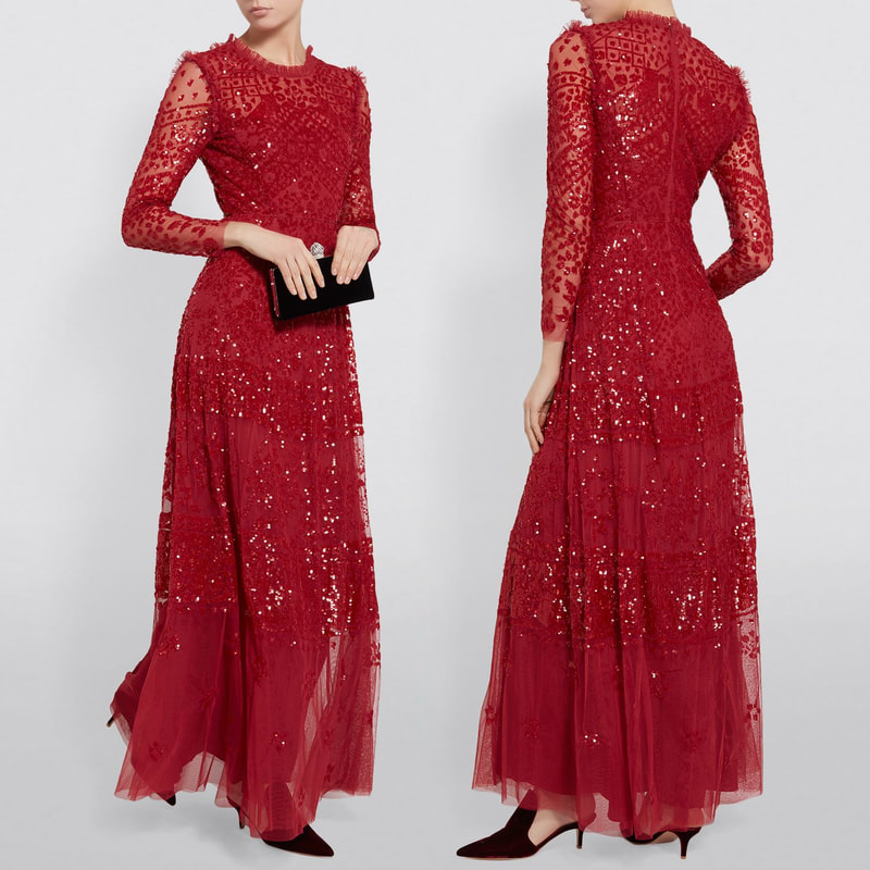 Needle & Thread Aurora Red Sequin Gown