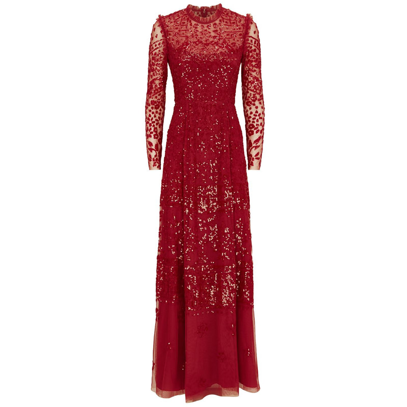 Needle & Thread 'Aurora' Red Sequin Gown