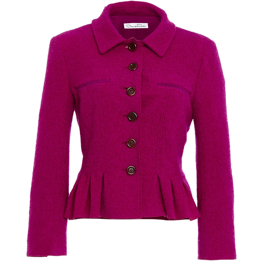Oscar de la Renta Ultraviolet Three Quarter Sleeve Pleated Jacket