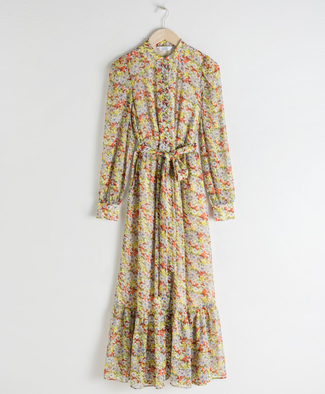 & Other Stories Floral Ruffled Maxi Dress