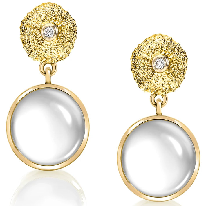 Patrick Mavros Ocean Tides Milky Quartz Earrings