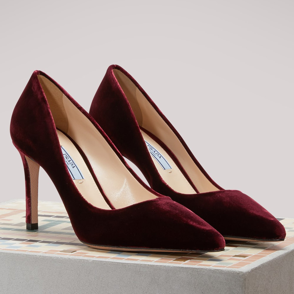 Prada Burgundy Velvet Pumps