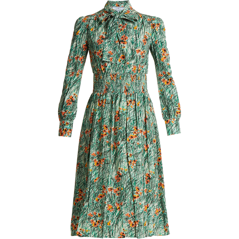 Prada Green Poppy-Print Silk-Crepe Dress