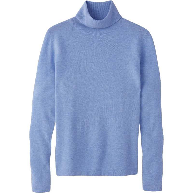 Pure Collection Cashmere Roll Neck Sweater in Heather Cornflower
