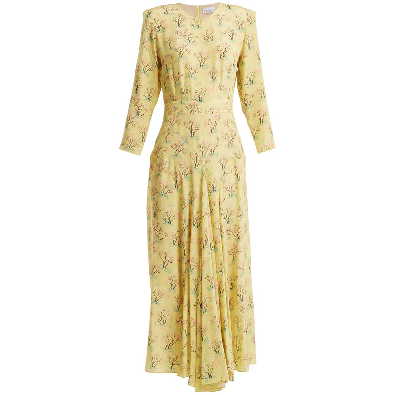 Raey Yellow Acid Tree Print Silk Dress