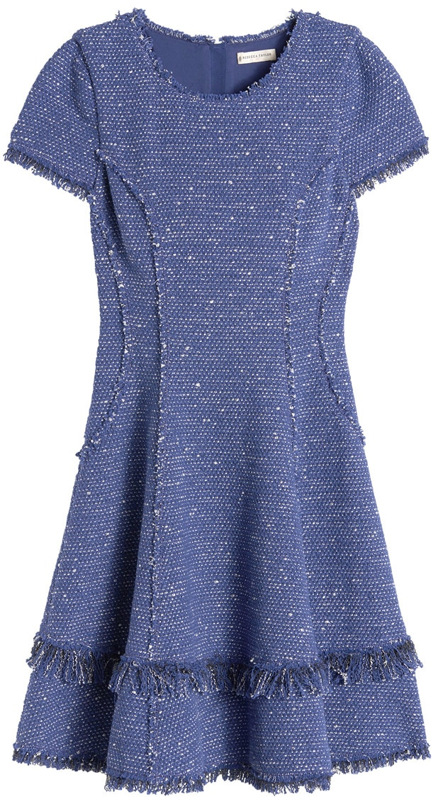 Rebecca Taylor blue sparkle tweed ruffle skirt dress