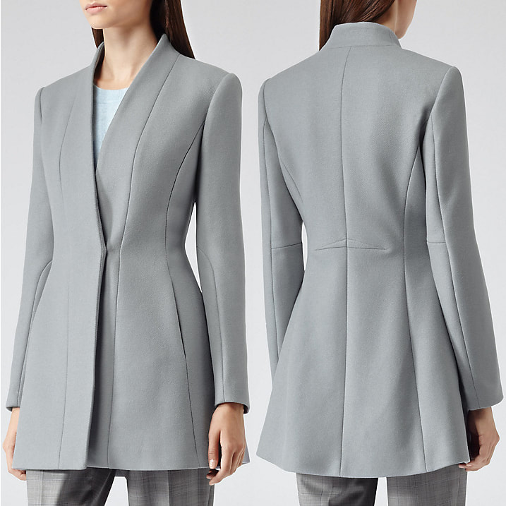 Reiss Delaney grey seam detail fit and flare coat