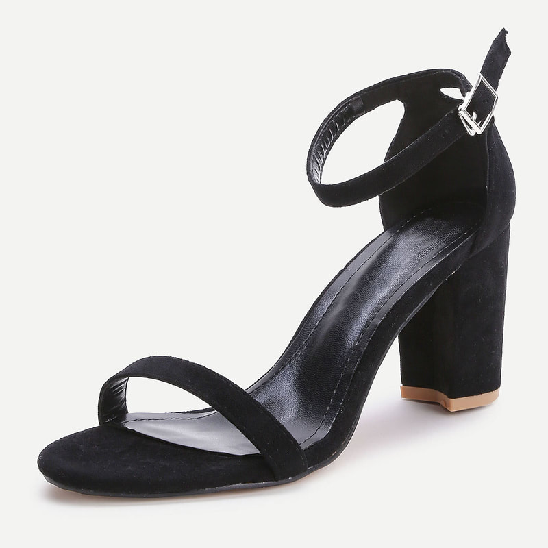 Office Nina Block Heel Sandals in Black Nubuck Kate