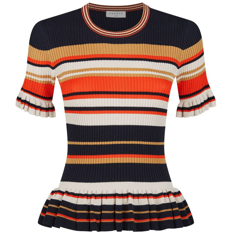 Sandro Striped Frill Knit Top