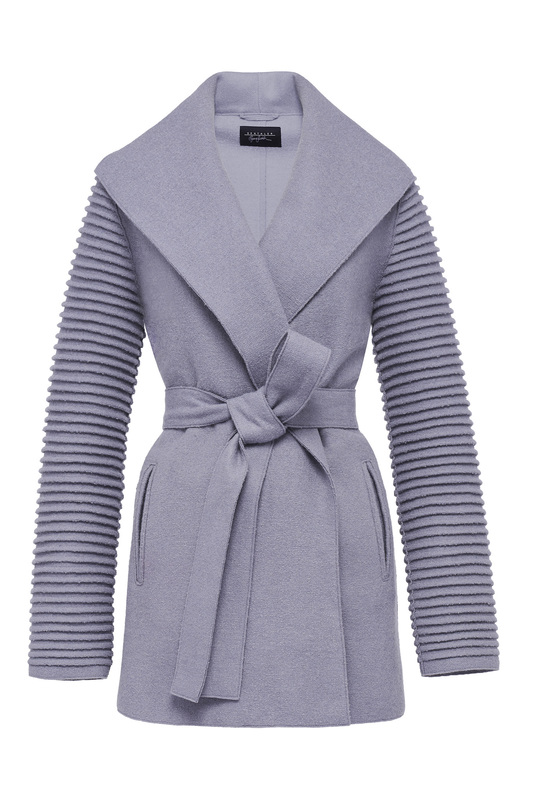 Sentaler Shawl Collar Wrap Coat with Ribbed Sleeves