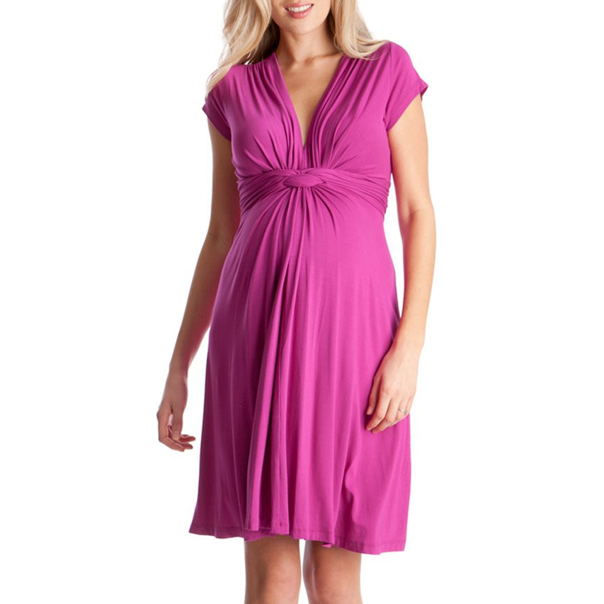 Séraphine Pink Fuchsia Knot Front Maternity Dress