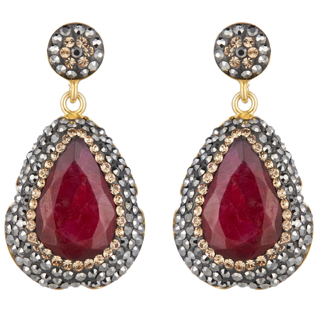 Soru Ruby & Gold Earrings