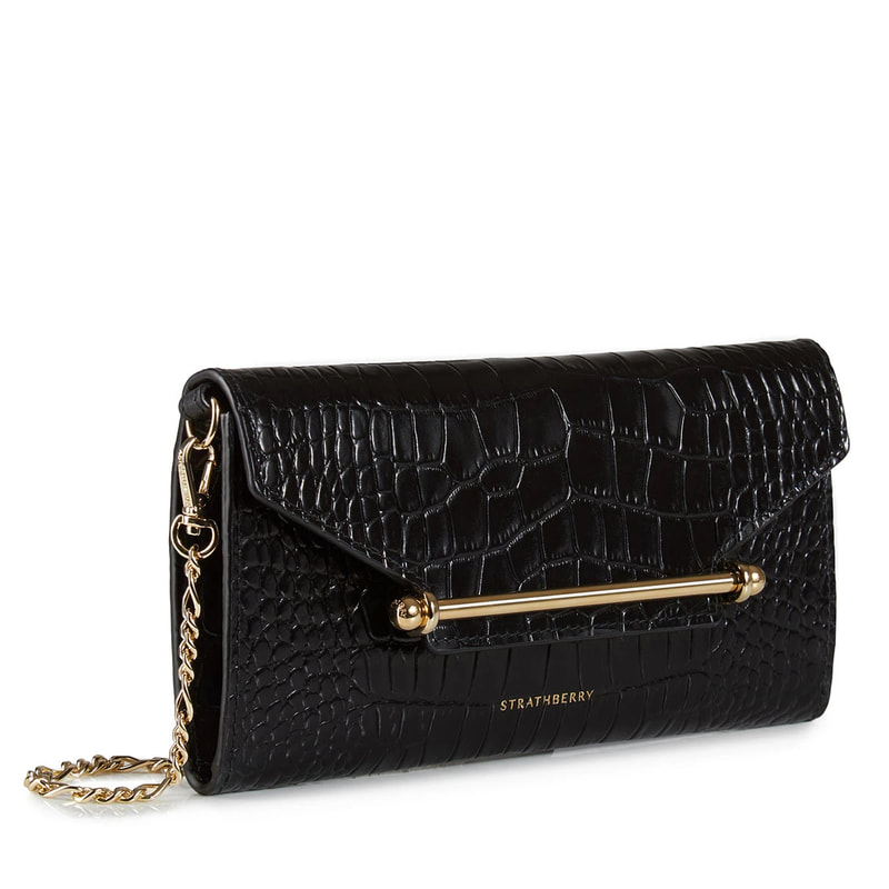 Strathberry Multrees Chain Wallet in embossed croc black